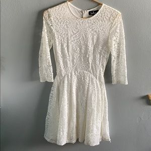 LULUs white mini lace dress!